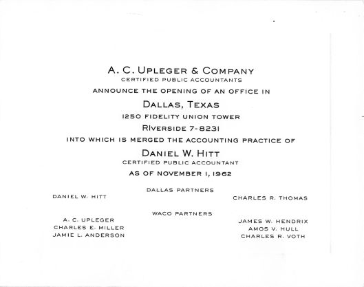 Notice by A. C. Upleger & Company